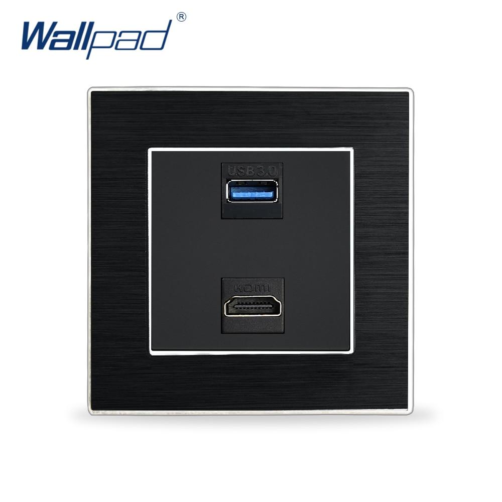 Hdmi usb 3.0 tomada de transmissão dados wallpad luxo parede interruptor luz al cetim metal painel hdmi usb telefone carregamento soquetes parede