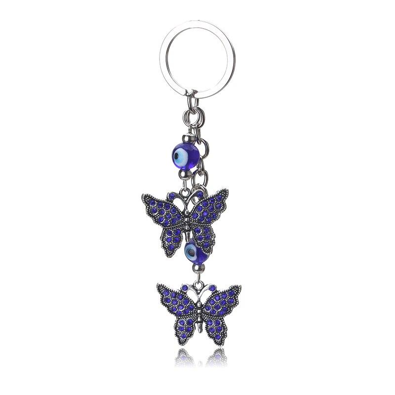 EYE EVIL new fashion evil eye butterfly keychain trendy metal blue evil eye butterfly keychain pendant for woman man pendant
