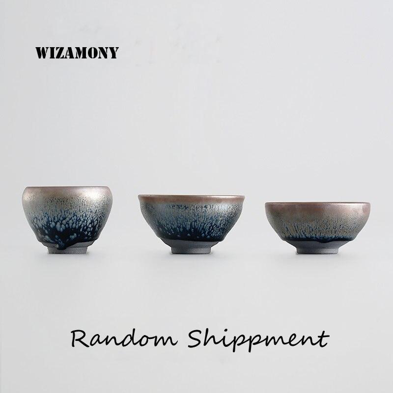 Zhan Jian 1 PCS Chinês Handmade temmoku esmalte Porcelana Gaiwan ChinaTeacups Tigela de Porcelana Bule De Chá Celadon Envio Aleatório
