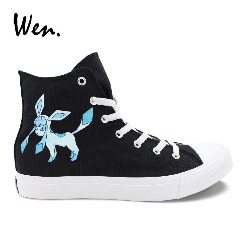 Zapatillas deportivas Wen negras pintadas a mano con diseño de dibujos animados Anime Pokemon Go Glaceon