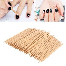 Sale 50PCS/100PCS Double End sticks Cuticle Pusher Wood Stick Nail Art Women Remover Pedicure Manicu