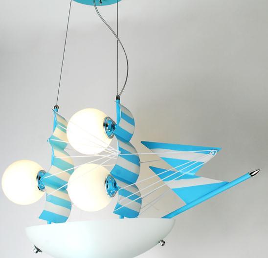 modern led cartoon  Blue sailing child bed room pendant light
