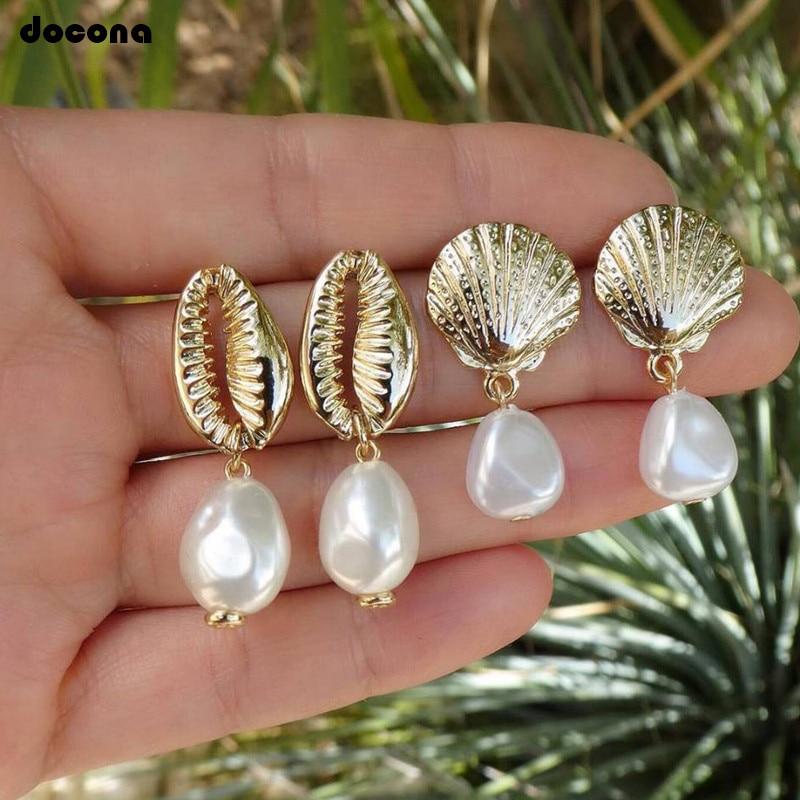 Docona 2pair/1set Bohemia Ocean Beach Gold Shell Conch Pearl Drop Dangle Earrings for Women Trend Pendant Party Jewelry 8021