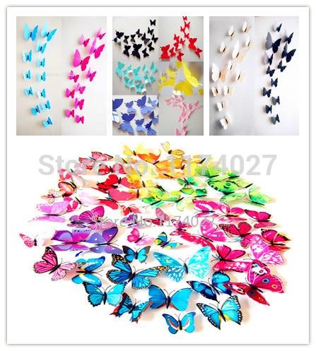 Mariposas 3d de PVC para decoración de pared, calcomanías artísticas para el hogar, 12 Uds.