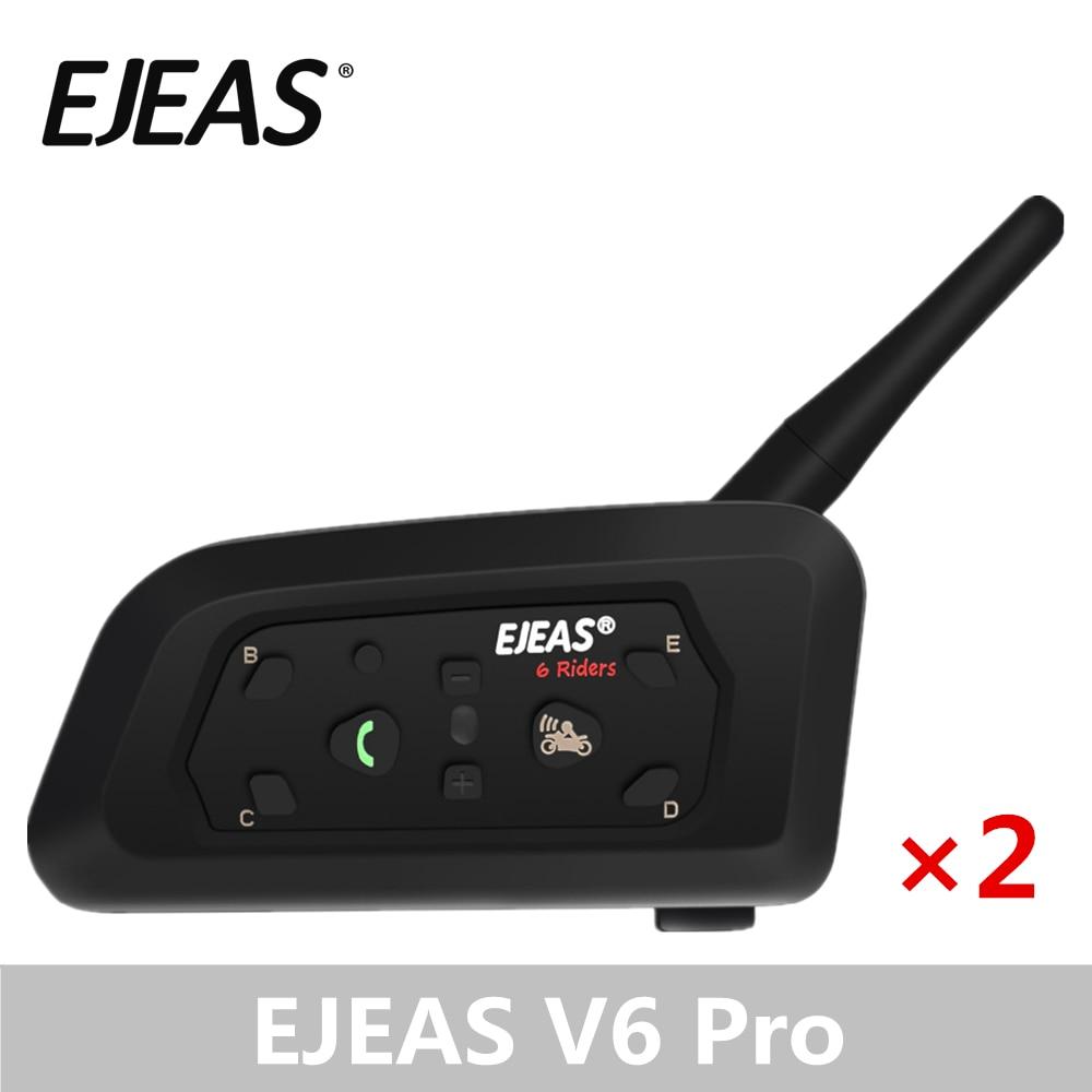 EJEAS-إنتركم بلوتوث V6 Pro-زوج من ملحقات الدراجة النارية, سماعات لاسلكية ، 1200 متر ، خوذة إنترفون ، سماعة رأس ، نظام تحديد المواقع و MP3