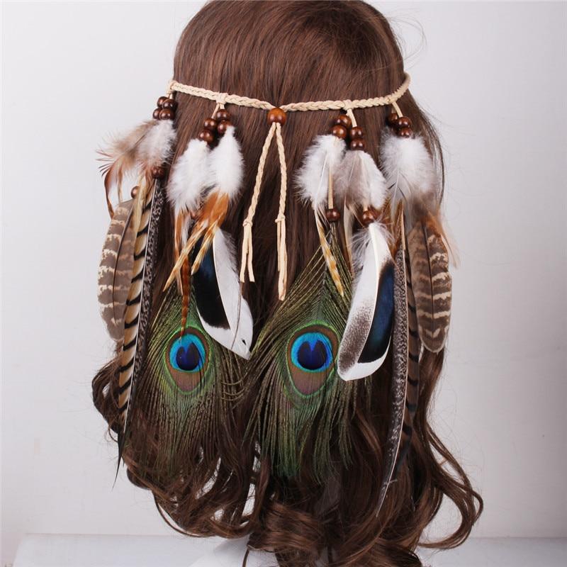 Tocado de diadema de plumas estilo bohemio indio sombreros de cuerda Tribal Hippie accesorios hechos a mano para el cabello para mujeres 01