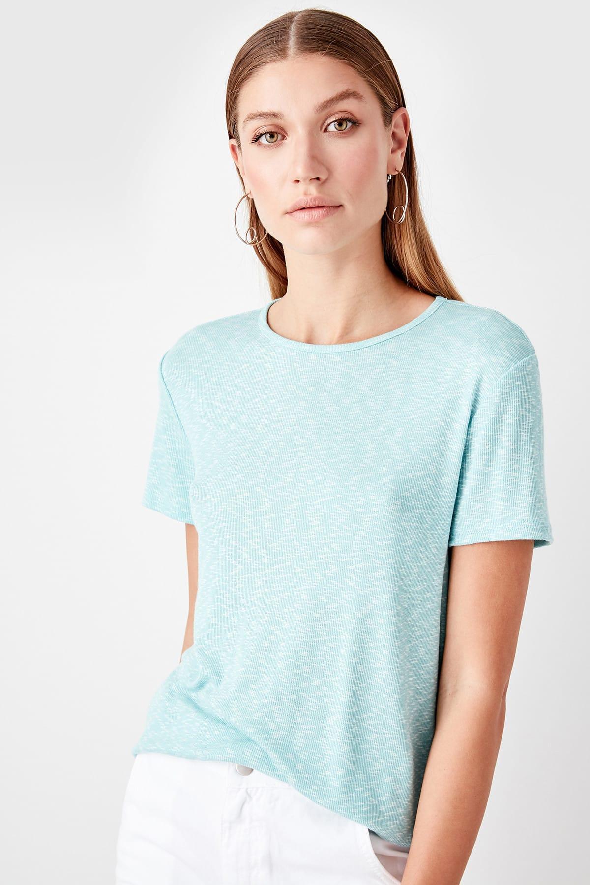 Trendyol mint básico malha t-shirts twoaw20ts0022