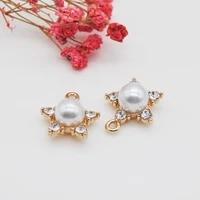 20pcslot 1921 5mm gold color charm rhinestone stars flower pendants charm for earring bracelet keychain making diy