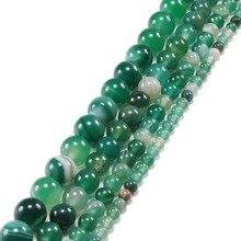 Bulk Groothandel Groene Streep Onyx Agat Ronde Kralen Natuursteen Kralen Voor Sieraden Maken Diy Armbanden Kettingen 4 6 8 10 12 Mm