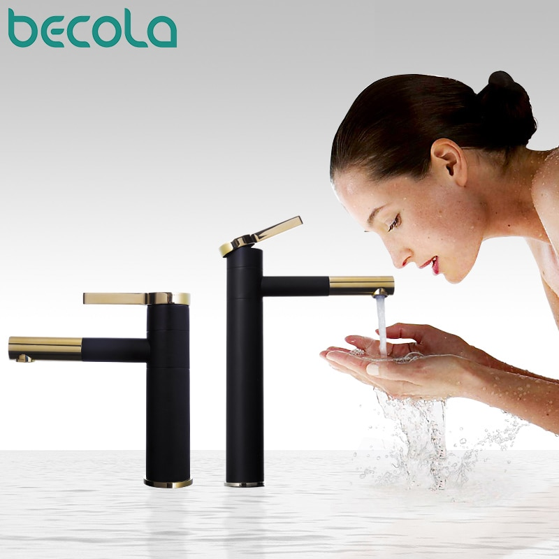 AliExpress - BECOLA New Design Brass 360 Rotating Faucet Black+gold Plated Handle Bathroom fashion Washbasin Basin Mixer Tap F-0069