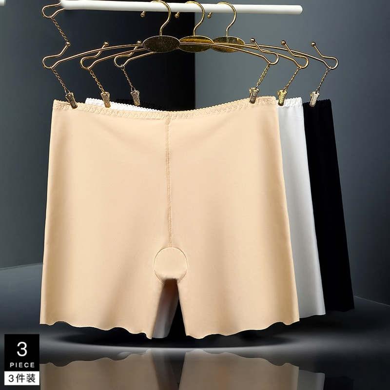 3 cor plus size calças curtas de segurança seda gelo seamless alta cintura branco preto pele respirável calças curtas 3 pcs set 205