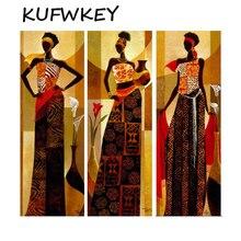 5D Diy Diamond Painting triptych Tribal Girl Cross Stitch Kit African Art Diamond Mosaic Handmade Diy Diamond Embroidery Woman