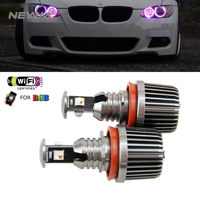 2018 nueva actualización wifi RGB E92 H8 LED Ángel ojos led marcador luces canbus para BMW X5 E70 X6 E71 E90 E91 E92 M3 E89 E82 E87