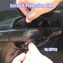 16/8pcs Universal Invisible Transparent Car Door Handle Scratches Protective Protector Films Handle Protection Sticker car goods