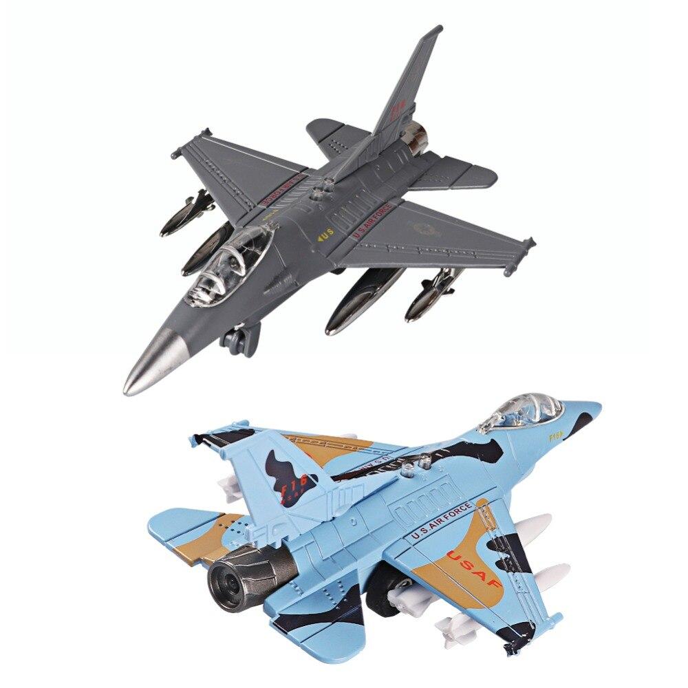 Juguetes de modelo de aviones de aleación fundida, aviones de juguete de Metal extraíbles USA Force F16, Kit de regalo para cumpleaños de niño