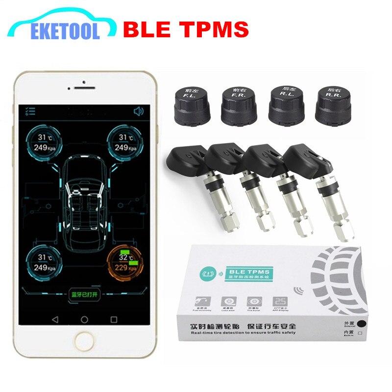 BLE TPMS inalámbrico 4 sensores de Sistema de control de presión de neumáticos de coche TPMS alarma por Bluetooth 4,0 para la aplicación IOS/Android