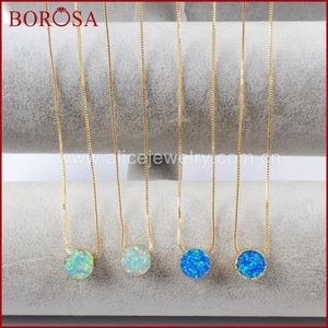 BOROSA 5/10PCS New Gold Color 10mm Round White & Blue Japanese Opal Pendant Man-made Opal Necklace Mixed Colors Jewelry G1492