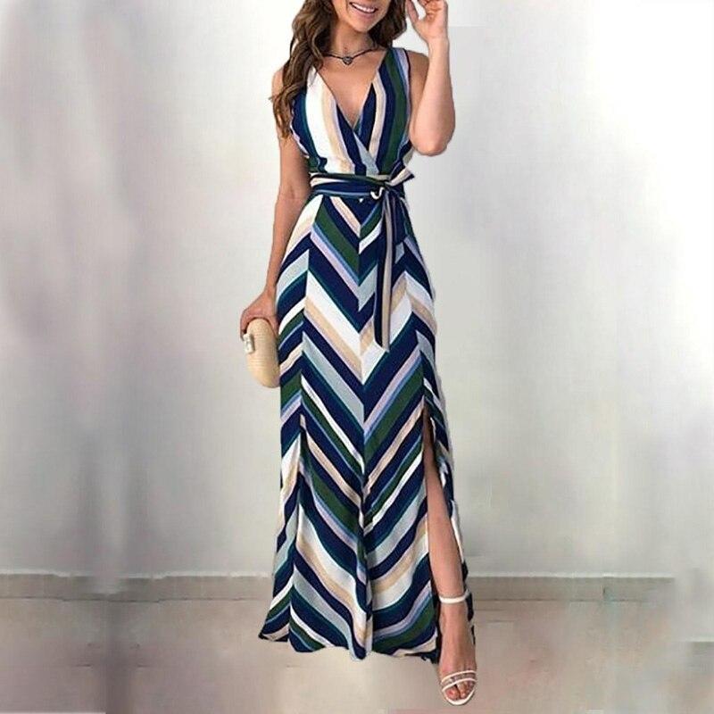 Moda feminina elegante envolvido lado fenda vestido de festa longo listras sem costas com cinto fenda casual maxi vestido ropa mujer