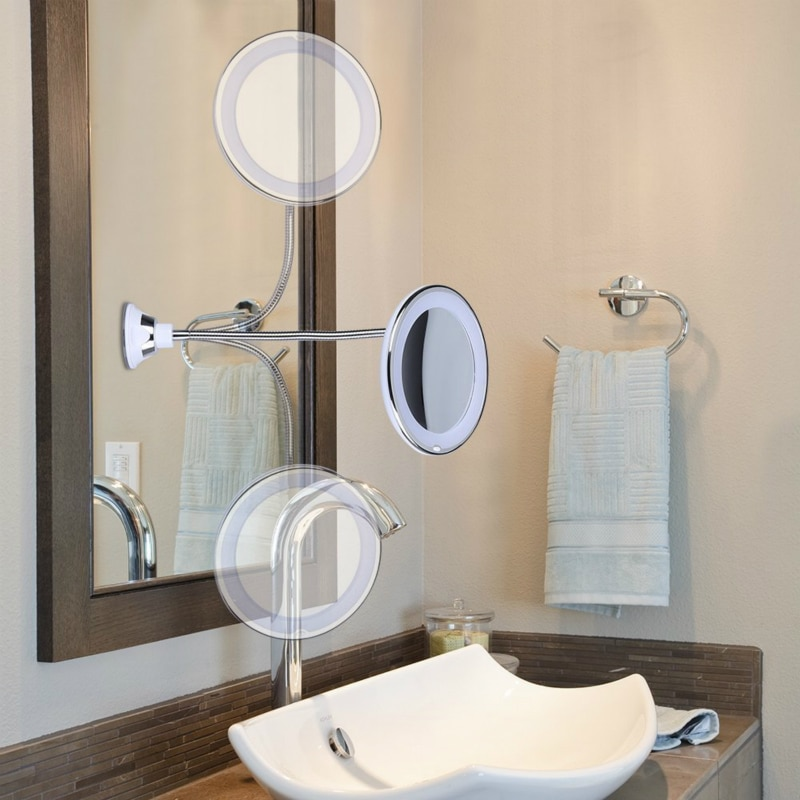 New 10 Times Magnifying Glass Vanity Mirror LED Light 360 Degree Flexible Rotating Suction Cup Bathroom Bedroom Night Light
