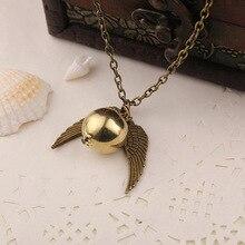 Plume ange ailes colliers géométrique rond or Snitch Harry Time Turner Vintage hommes film pendentif collier bijoux