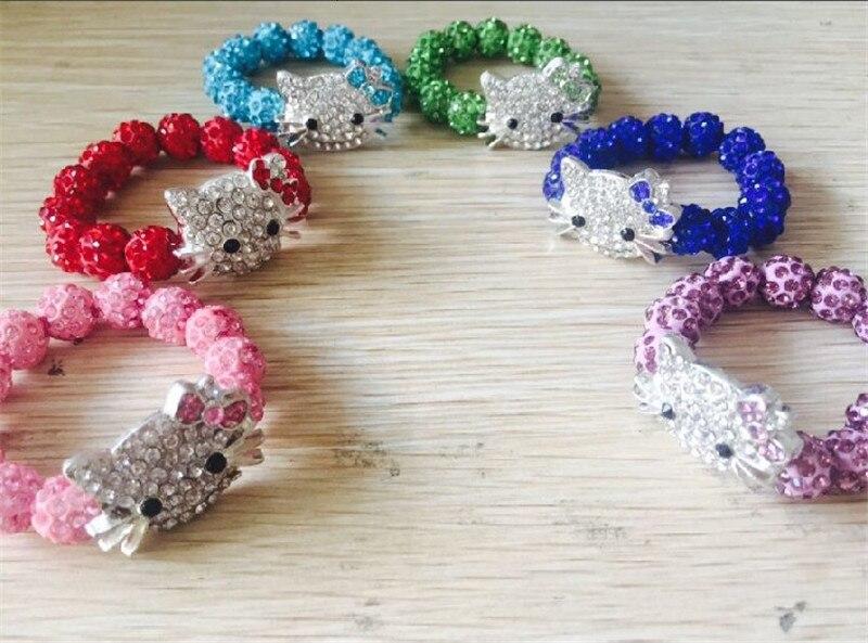 6 uds pulseras de Hello Kitty para niños hechas a mano cuerda cadena pulseras con dijes envolventes brazaletes