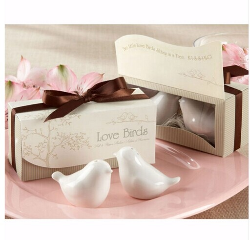 Salero y pimentero de cerámica Love Birds, pimentero, pimiento, triturador, recipiente, regalo de recuerdo de boda