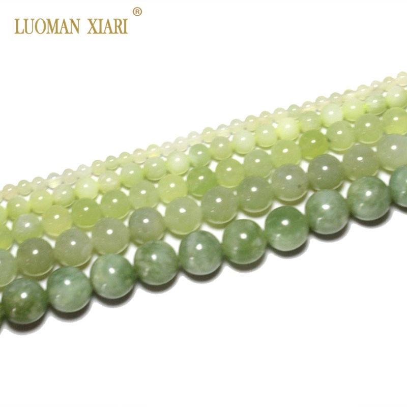 Fino AAA Natural redondo nuevo verde cuentas de piedra Jade para fabricación de joyería DIY pulsera collar 4/6/8/10/12mm hebra 15