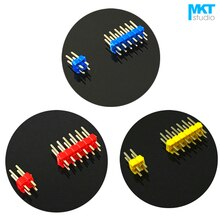 100 stks 5 Kleur Vergulde 2.54mm Pitch Double Row PTH Mannelijke Pin Header Strip 2x2 p 2x3 p 2x4 p 2x5 p 2x6 p 2x7 p 2x8 p 2x9 p 2x10 p