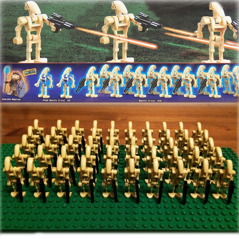 Nuevo 60 unids/lote STARWARS clon Wars personalizado ejército batalla droids Trooper con pistola SW001C compatible bloques de construcción niños juguete