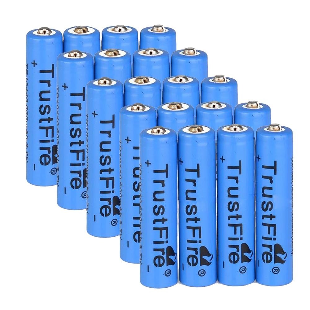 TrustFire 20 шт AAA 10440 600mAh 3,7 V литий-ионная аккумуляторная батарея синий