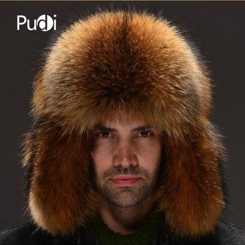 HM026 Real genuine racoon dog  fur hat  winter men's warm caps whole piece racoon dog fur hats