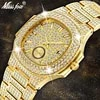 MISSFOX – montre de luxe pour hommes nouvelle tendance or 18K chronographe étanche grande en acier plein de diamants
