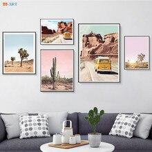 Póster de Cactus de árboles de Josué, lienzo de desierto de California, pintura de pared, cuadros de Arte Moderno, arte minimalista bohemio, decoración del hogar
