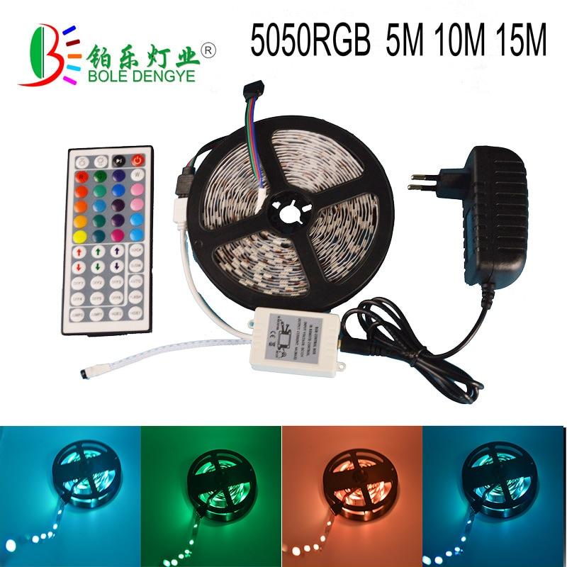 BOLEDENGYE 5 M 10 M 15 M fita fita flexível 5 m/roll + controlador + adaptador remoto swich 5050RGB kit completo