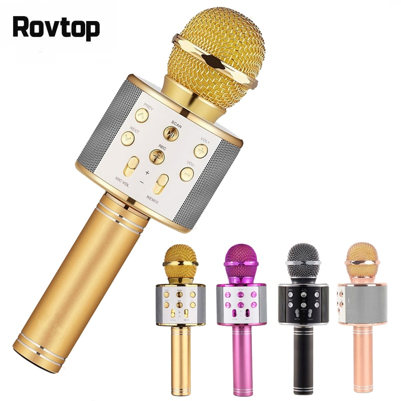 Беспроводной профессиональный микрофон, рекордер для записи звука и караоке, Bluetooth, динамик KTV, батарея 1800 мАч
