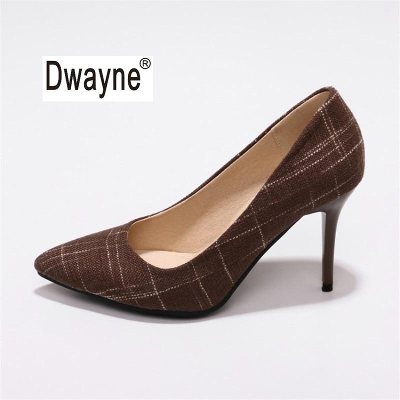 Big Size Womens Shoe 9cm High Heels Pumps Party Shoes For Women Canvas Wedding Shoes chaussure femme 181-48