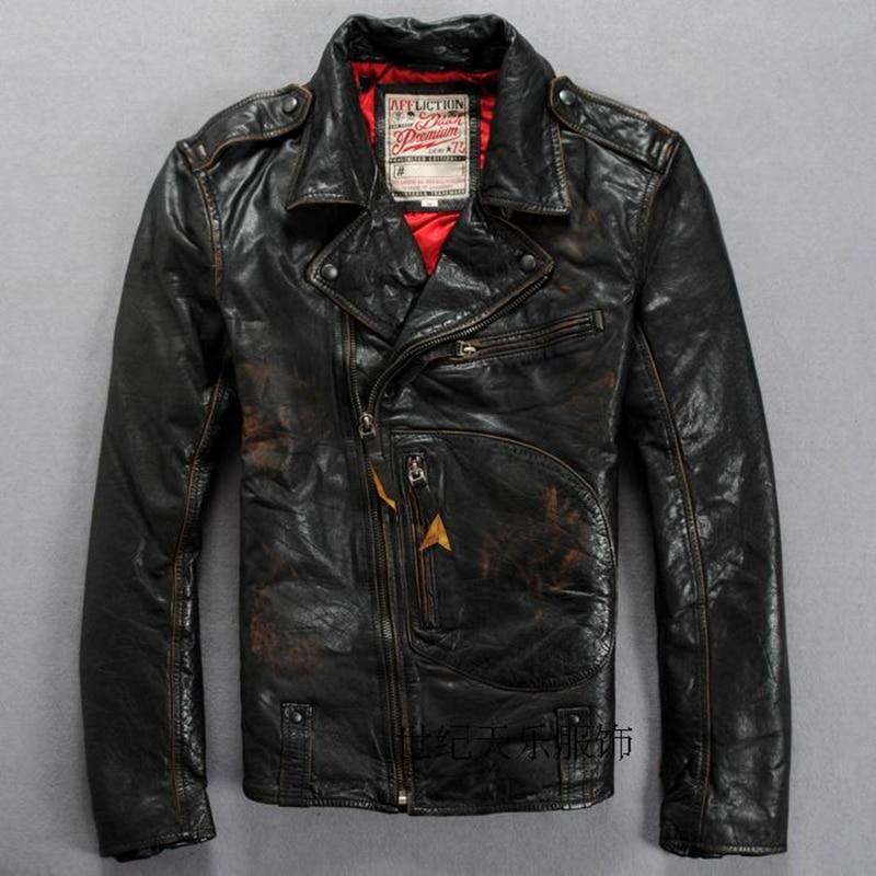 Blouson en cuir véritable noir homme, Slim, décontracté et classique, pour motard, printemps-automne