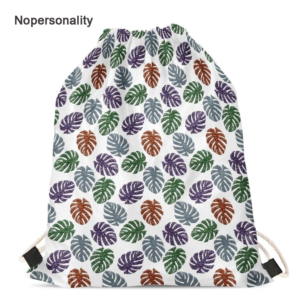 Bags para Mulheres Mochila de Viagem Mochilas de Compras Nopersonality Glitter Monstera Drawstring Escola Portátil Crianças Leve