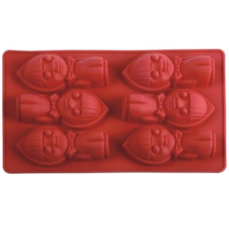 Nuevo 6 cavidad muñeca de silicona utensilios para horno fondant molde para pastel de chocolate arcilla resina molde de artesanías