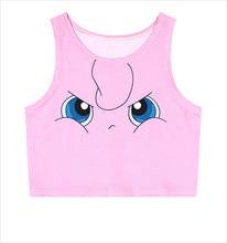 2016 camisetas de patrón de dibujos animados de moda Rosa camisa Pokemon impresión playera kawaii Sexy Top corto ajustado Tee