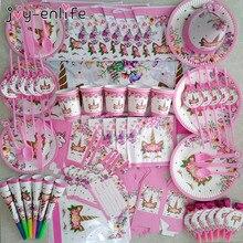 Unicórnio festa suprimentos rosa arco-íris unicórnio banner placas balões guardanapo cupcake embrulho chá de fraldas crianças decorações de aniversário
