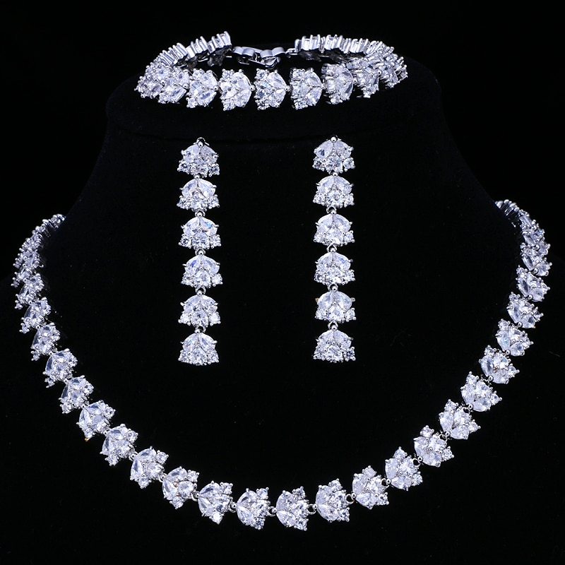 Emmaya Hot Sale Luxury Bridal Jewelry Sets For Women Sparkling AAA Zircon Paved By Hand 3 pcs Wedding Set Jewelry