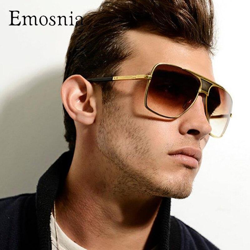 Солнцезащитные очки-авиаторы Emosnia, в стиле ретро, большие, с градиентными линзами, коричневые, прозрачные, уличные, золотые, мужские, брендов...