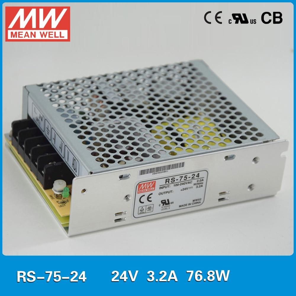 الأصلي يعني جيدا امدادات الطاقة 24V 75W 3.2A Meanwell RS-75-24 UL TUV CB EMC CE وافق 110/220VAC إلى 24VDC امدادات الطاقة SMPS