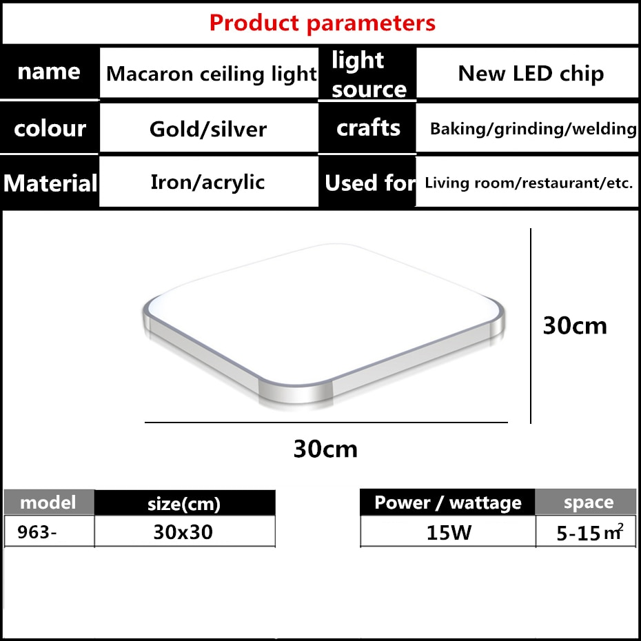 Creative Square Style LED Ceiling Light Modern Gold/silver Cold White Ceiling lamp for living room kids room aisle Home Foyer  - buy with discount