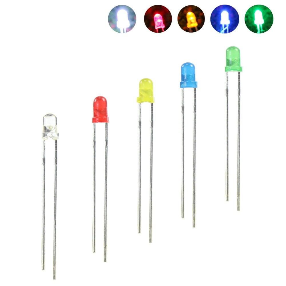 LED3 100 pcs 3mm Led Cor Misturada Vermelho  Amarelo  Azul  Verde  Branco & Resistores Livre NOVA Wired
