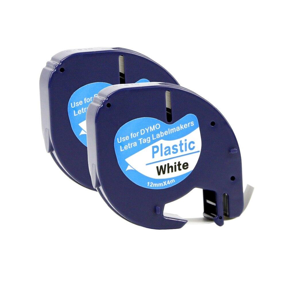 20 pcs Compatível DYMO Letratag LT fita plástica 12mm preto no branco 91201 para impressora dymo LT