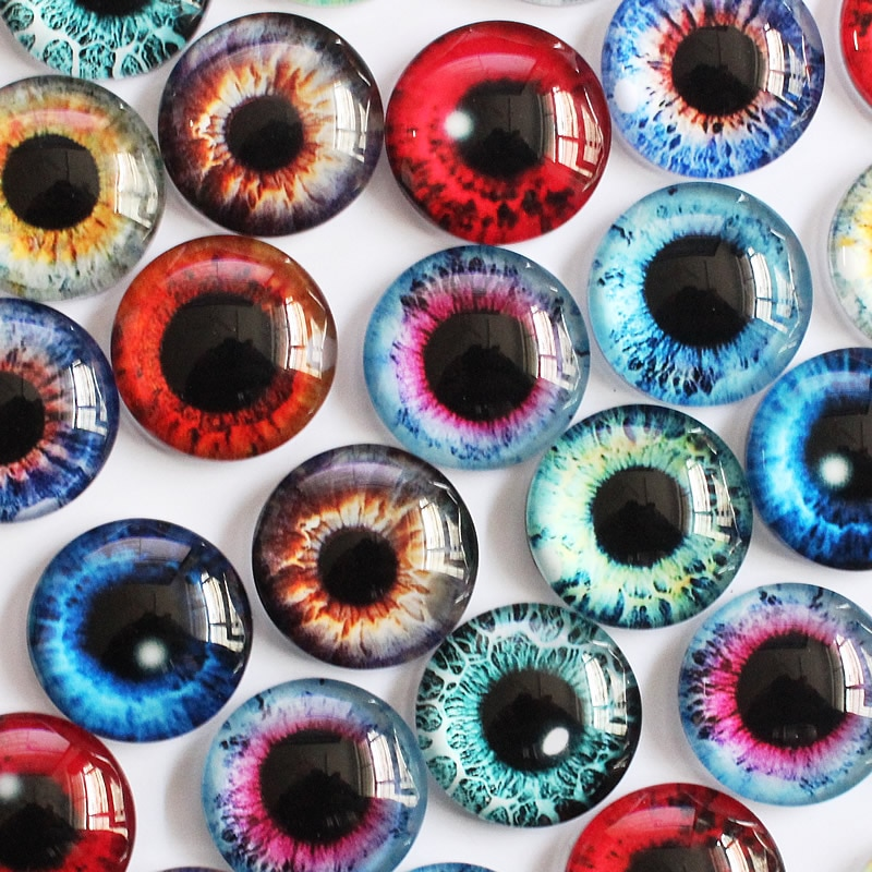 18mm aleatorio mezclado Ojos de dragón redondo patrón de vidrio cabujón Flatback foto DIY haciendo accesorio Base en pares 30 Uds K05370