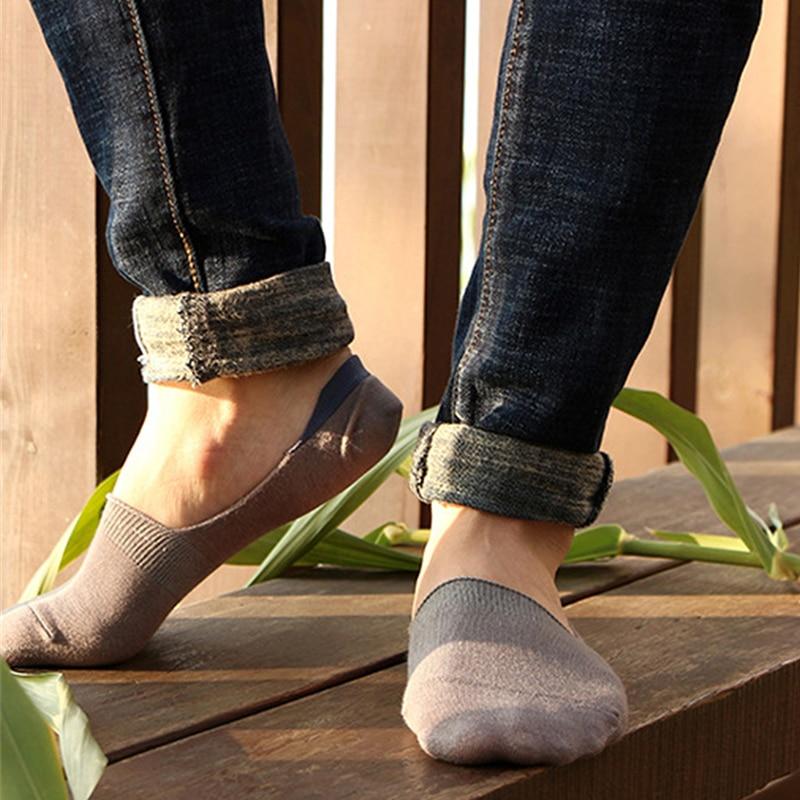 5 pair/lot Men's Casual Bamboo Invisible Non-slip Socks Silicone Anti-Shedding Socks Thin Summer Shallow Mouth Boat Socks