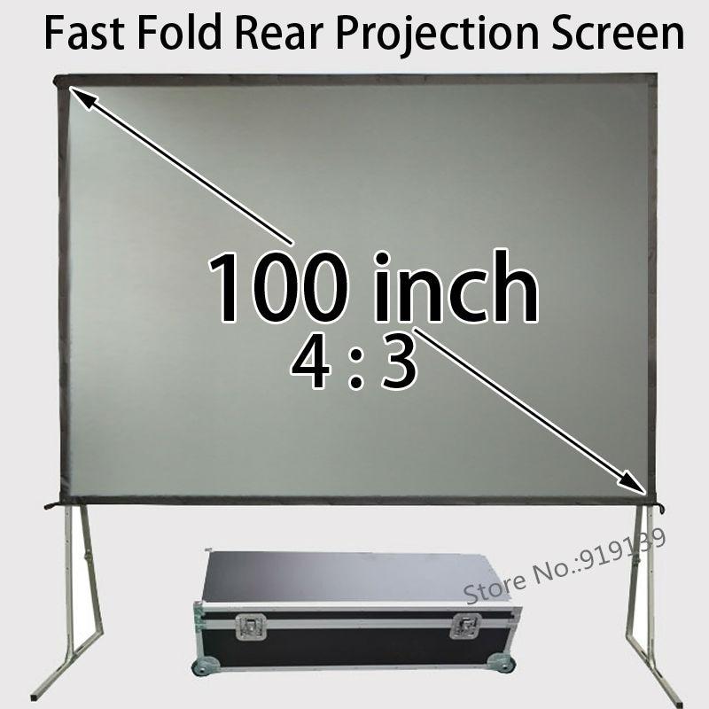 80x60 بوصة حجم قابل للعرض 4:3 شاشة عرض خلفي إطار قابل للطي السريع مع حافظة للسفر للأعمال التجارية